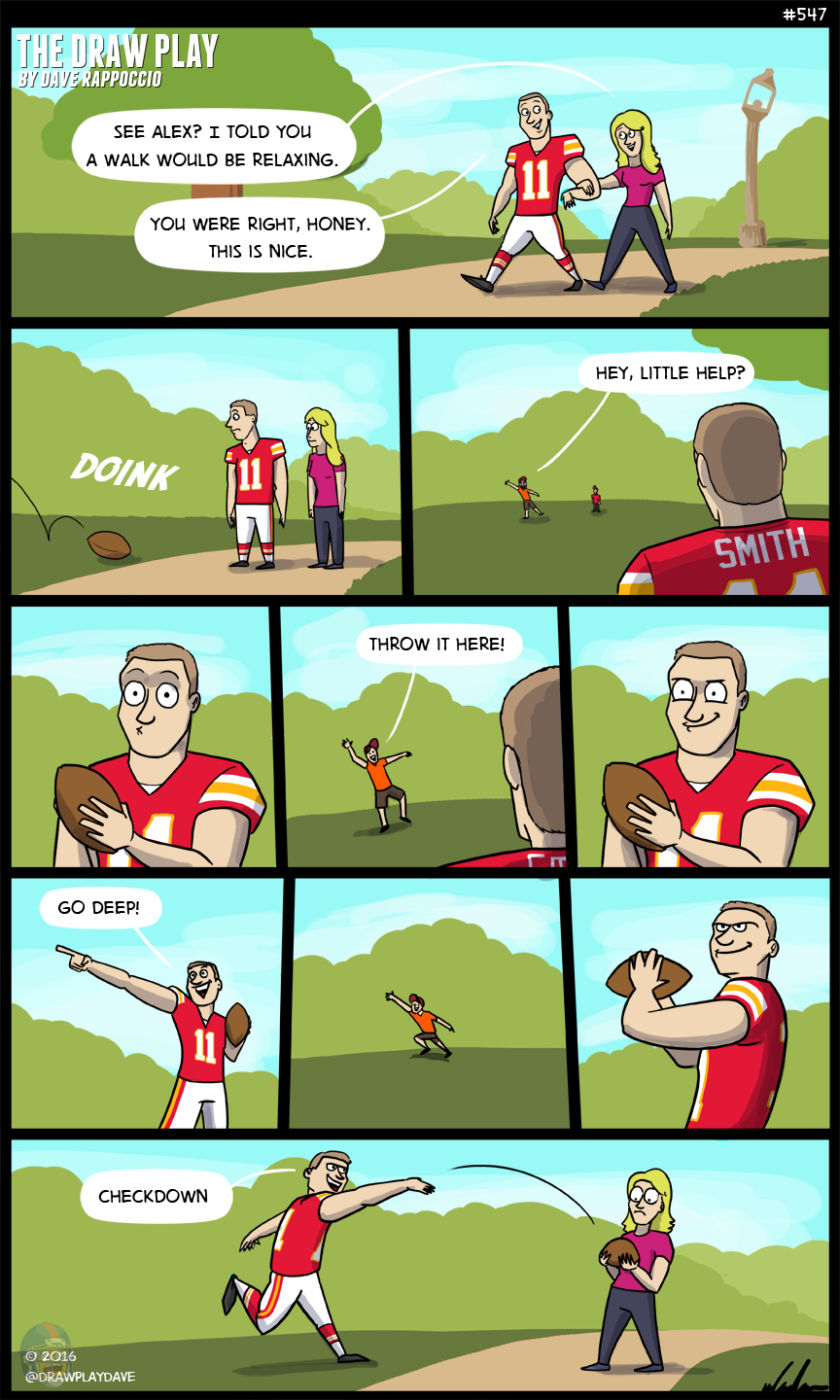 Alex Smith never goes deep. Into the playoffs.